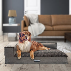 "Kirkland Signature 36"" x 42"" Memory Foam Bolster Dog Bed, Gray Herringbone"