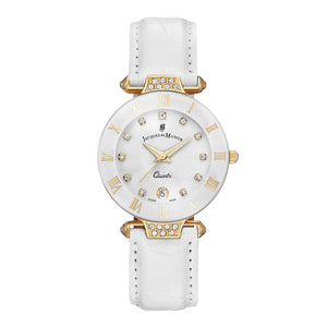Jacques Du Manoir White Sunray Dial Ladies Watch