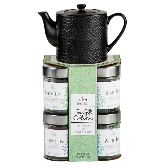 Teapot & Glass Tea Canisters Gift Set