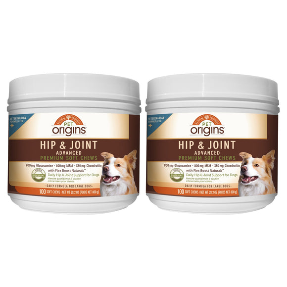 Pet Origins Advanced Vet Strength Hip & Joint Soft Chews for LG Dogs, 100-count