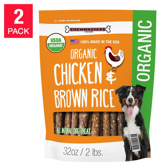 Chewmasters Organic Chicken & Brown Rice Dog Treat 32 oz, 2 Pack