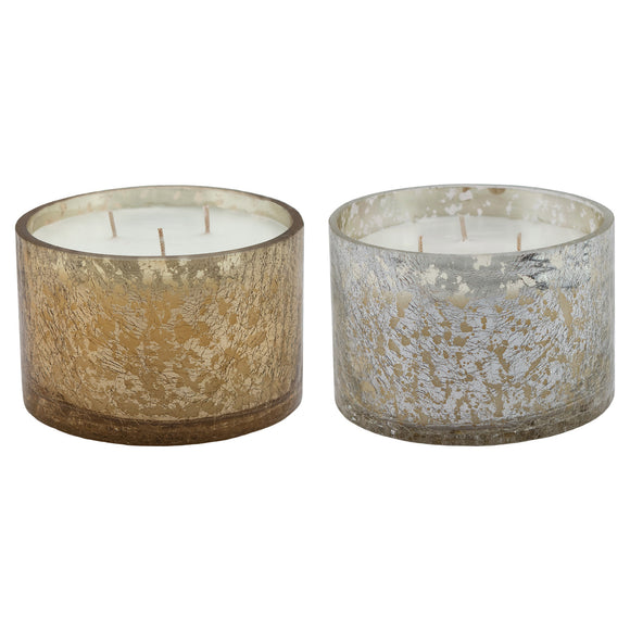 Mercury Glass Crackle Finish Candle, 2-piece Set