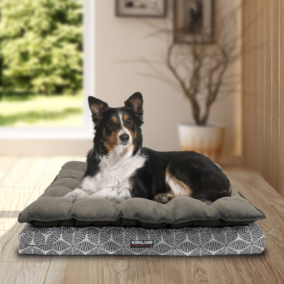 "Kirkland Signature 36"" x 40"" Pillow Top Orthopedic Dog Bed, Taupe Leaves"