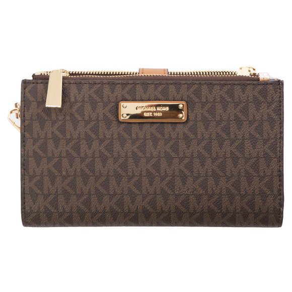 Michael Kors Double Zip Wristlet, Brown