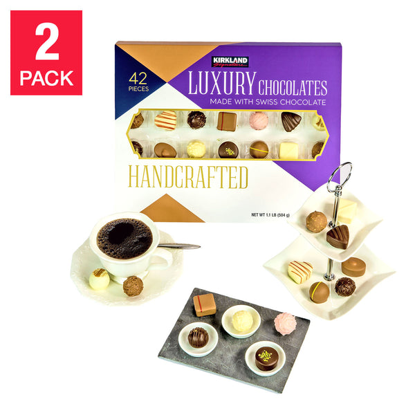 Kirkland Signature Handcrafted Luxury Chocolates 42-piece, 2-count