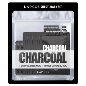 Lapcos Charcoal Sheet Mask Set - 8-pack + 2 Bonus Exfoliating Pads