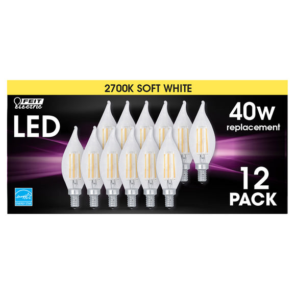 Feit Electric LED Chandelier Bulb Soft White, 12-pack