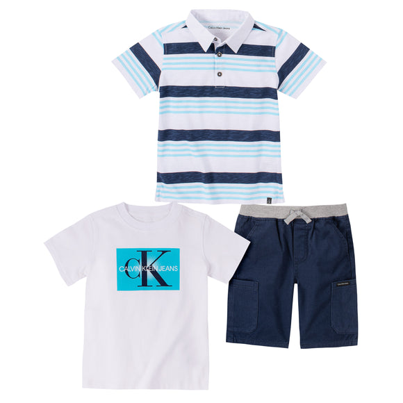 Calvin Klein Kids' 3-piece Set, White/Navy