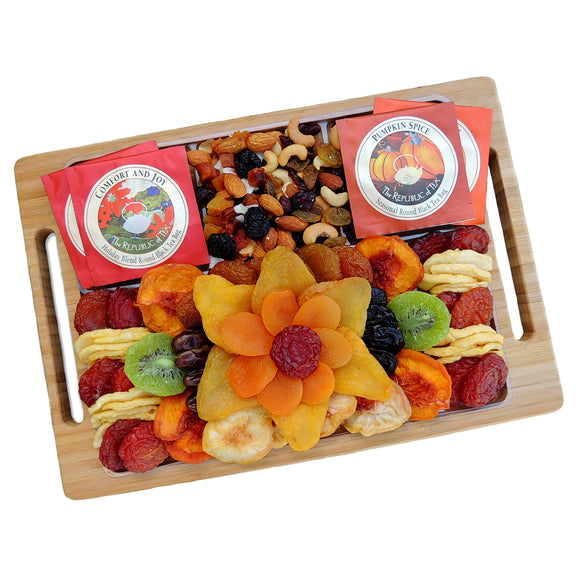 Vacaville Fruit Company 38 oz, Fruit, Nut, Salami Cheese Bamboo Tray