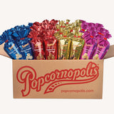 Popcornopolis Limited Edition Holiday Mini Cones: Caramel Corn, Snickerdoodle, White Cheddar and Zebra Popcorn—Case of 48