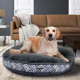 "Kirkland Signature 42"" Round Bed Gray Key & Faux Suede with Dotted Plush"