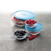 Duralex Lys 5-pack Round Glass Food Storage Bowls with Lid