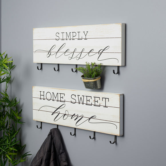 White Wood Sentiment Wall Sign with Hooks, 2-piece