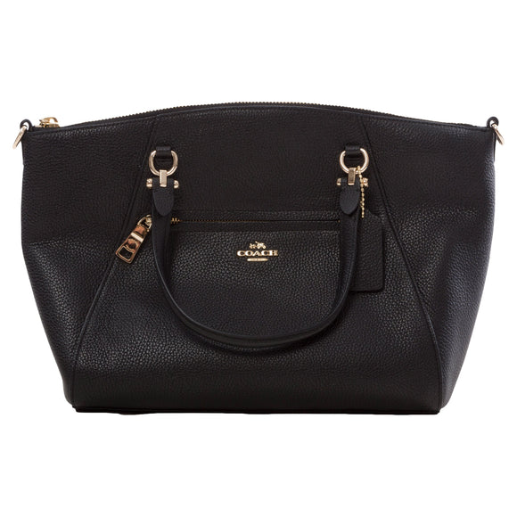 Coach Pebbled Prairie Satchel Bag, Black
