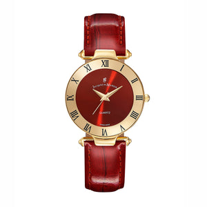 Jacques Du Manoir Red Sunray Dial Ladies Watch