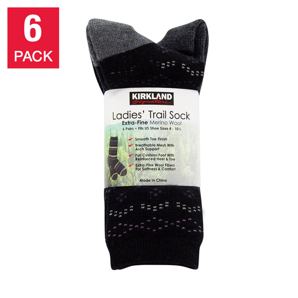 Kirkland Signature Ladies' Extra-fine Merino Wool Crew Sock, 6-pair