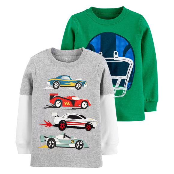 Carter's Mix and Match Tee, Helmet/Race Cars, 2-pack