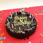 David's Cookies Chocolate Fudge Birthday Cake, 4.5 lbs.  Includes Party Pack