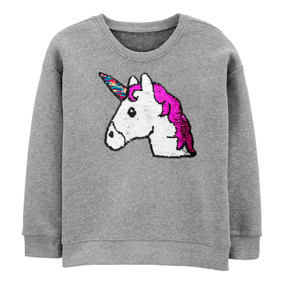 Osh Kosh Youth Flip Sequins Crew Fleece Sweatshirt, Unicorn