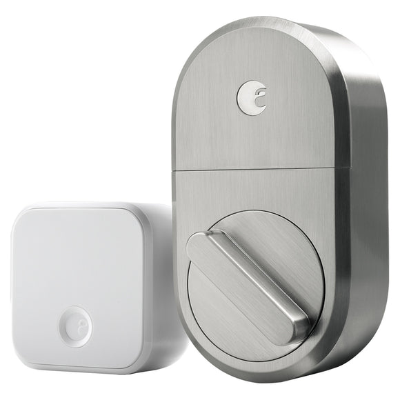 August Smart Lock + Connect WiFi Bridge, Satin Nickel