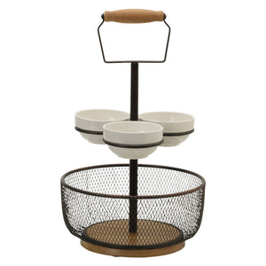 Gourmet Basics Thread 2-Tier Server with 3 Bowls by Mikasa