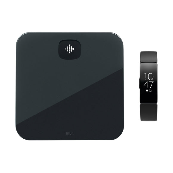 Fitbit Aria Air Smart Scale & Fitbit Inspire HR Fitness Tracker Bundle, Black/Black