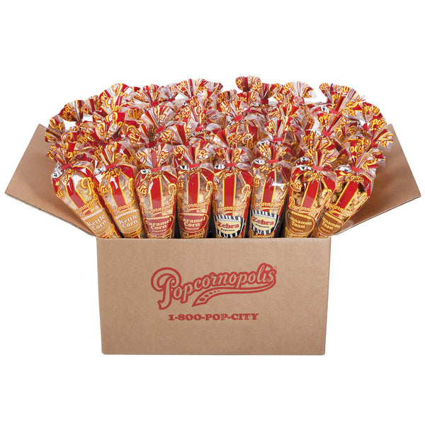 Popcornopolis Case of 48 Mini Cones:  Caramel, Zebra, Kettle Corn & Cinnamon Toast