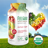 Feel Good USDA Organic Vita Fruits & Veggies, 120 Capsules