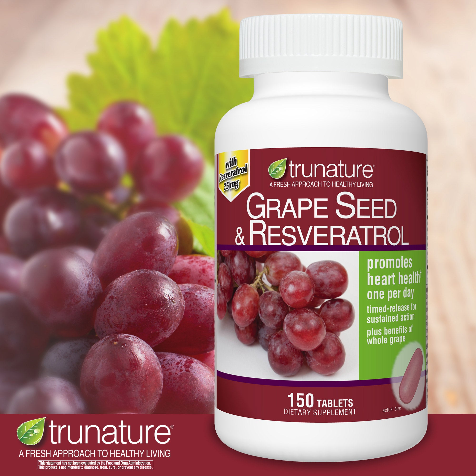Trunature Grape Seed And Resveratrol 150 Tablets Littlemore