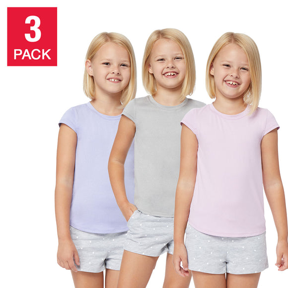 32 Degrees Youth 3-pack Tee, Gray/Light Purple/Light Pink