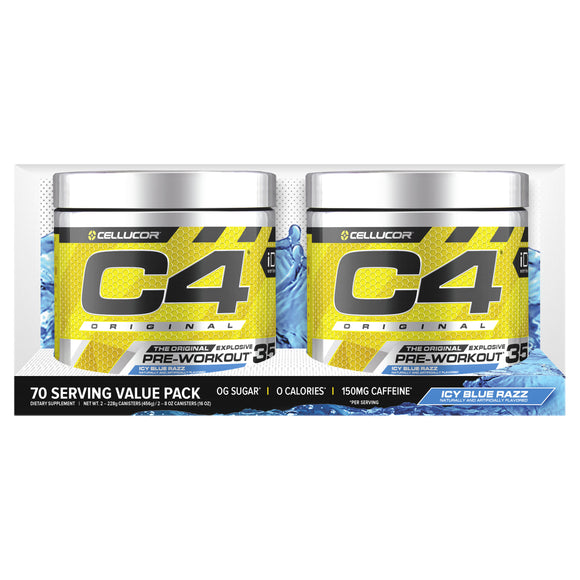 Cellucor C4 Original Pre-Workout Powder, Icy Blue Razz, 2 x 8oz