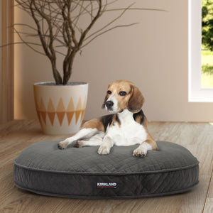 "Kirkland Signature 42"" Round Dog Bed, Gray Quilted"