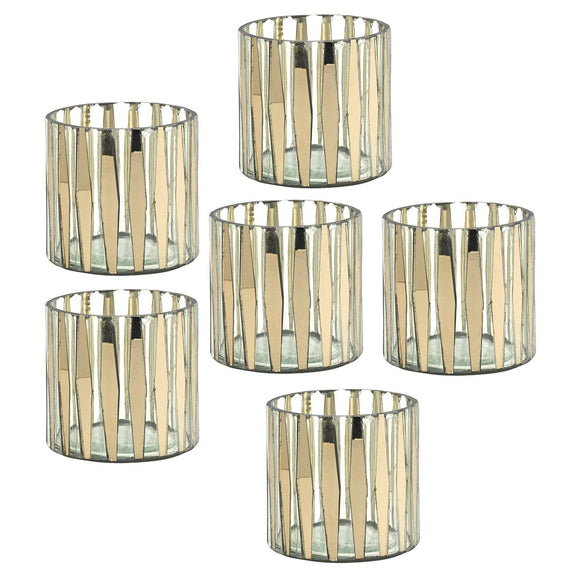 Mikasa Set of 6 Golden Striped Candle Holders