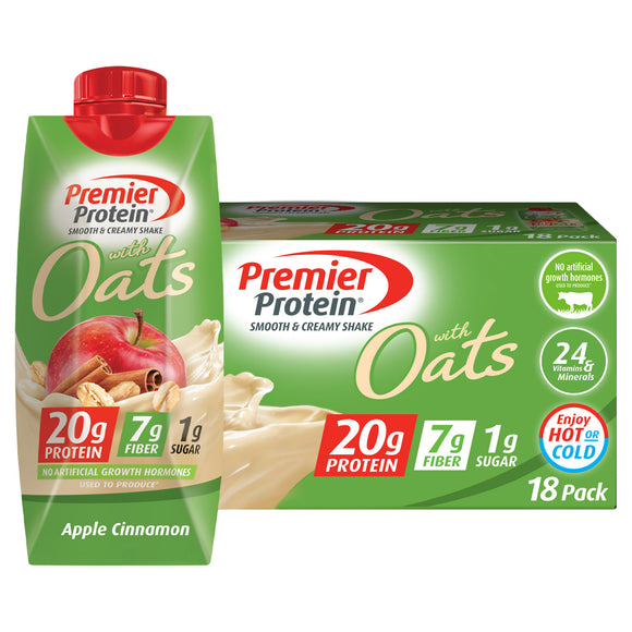 Premier Protein With Oats Shake, Apple Cinnamon, 11 fl oz 18-pack