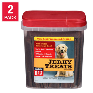Jerky Treats American Beef Dog Snacks 60 oz, 2-pack