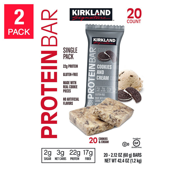 Kirkland Signature Protein Bars Cookies and Cream 2.12 oz, 2-count