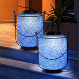 "13"" Seaglass Mosaic LED Lantern, 2-pack"