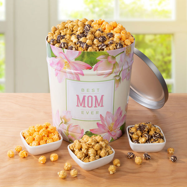 Popcornopolis 3.5 Gallon Mother's Day Popcorn Tin: Caramel, Cheddar, and Zebra