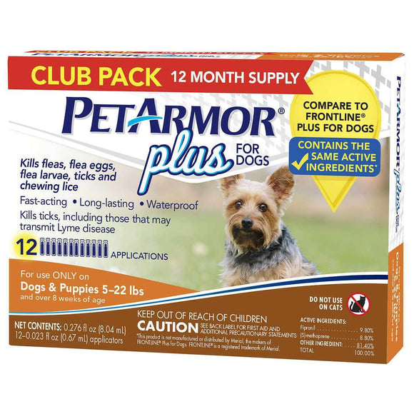 PetArmor Plus Flea, Tick and Lice Formula for Dogs 5-22 lbs, 12 Month Application