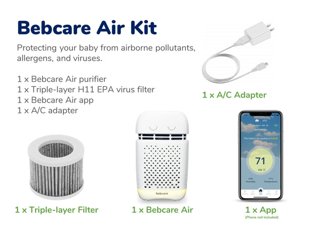 Bebcare Air Light-weight Portable Purifier with H11 EPA Virus Filter
