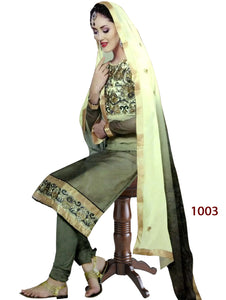 Mehandi Green Designer Straight Suit