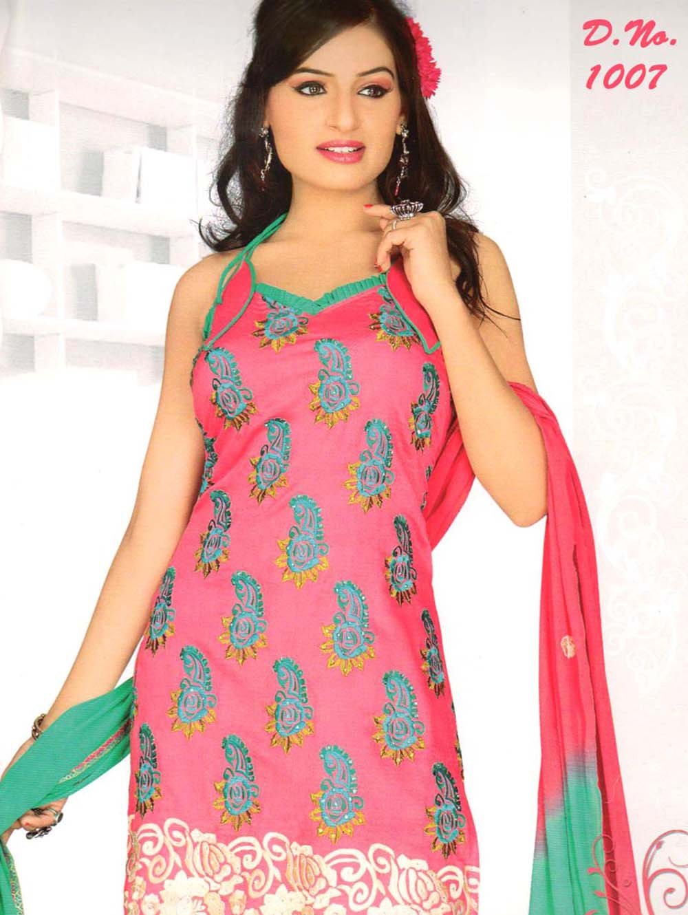 Hot Pink and Spring Green Georgette Straight Suit