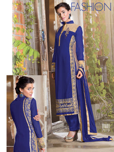 Navy Blue Party Wear Embroidered Georgette Long Straight Suit