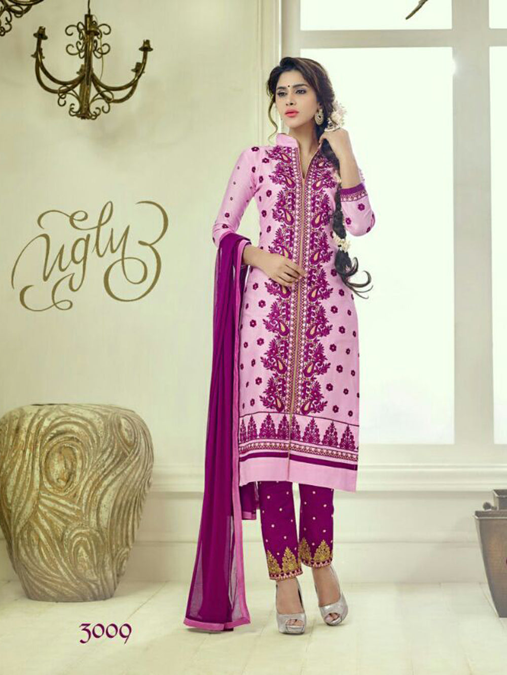 Lavender and Purple Embroidered Glace Cotton Daily Wear Straight Suit