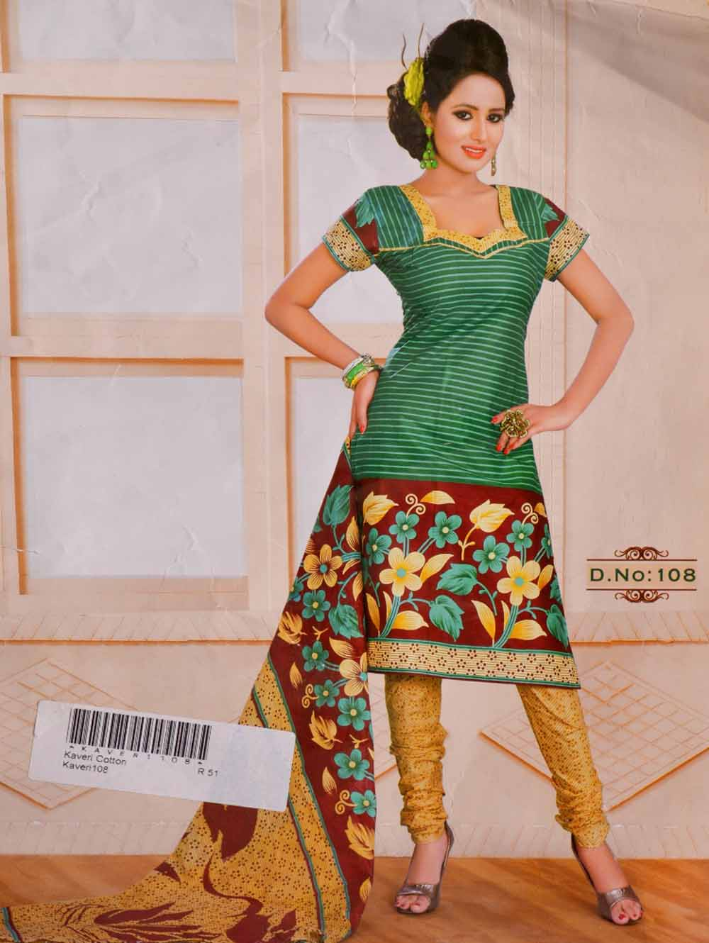 Green and Brown Printed Salwar Suit