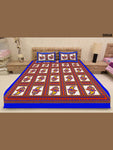 00068RoyalBlue and Multicolour Ethnic Cotton Queen Size Bedsheet With 2 Pillow Covers