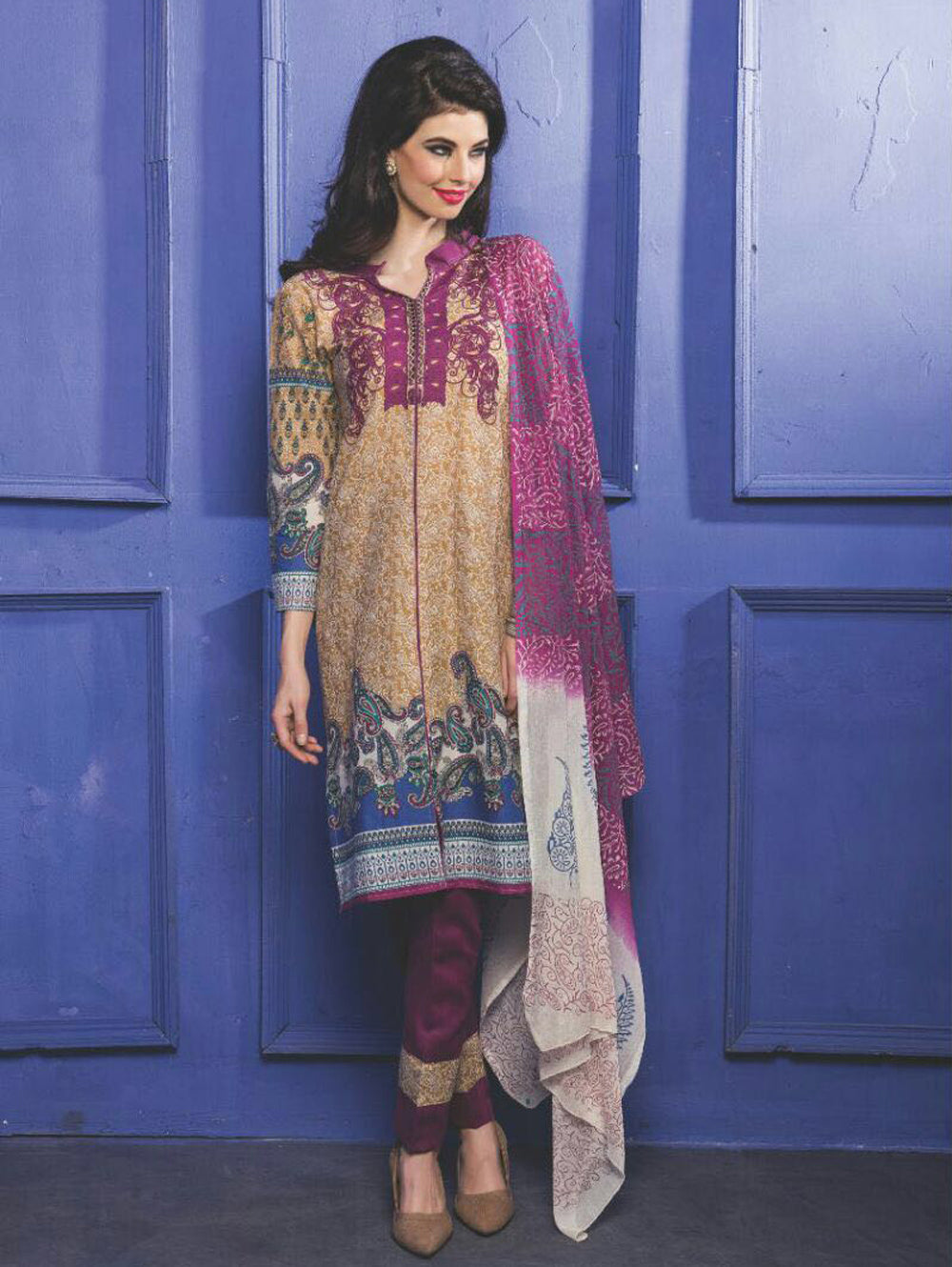 Light Brown and Magenta Printed Cambric Top Daily Wear Designer Suit