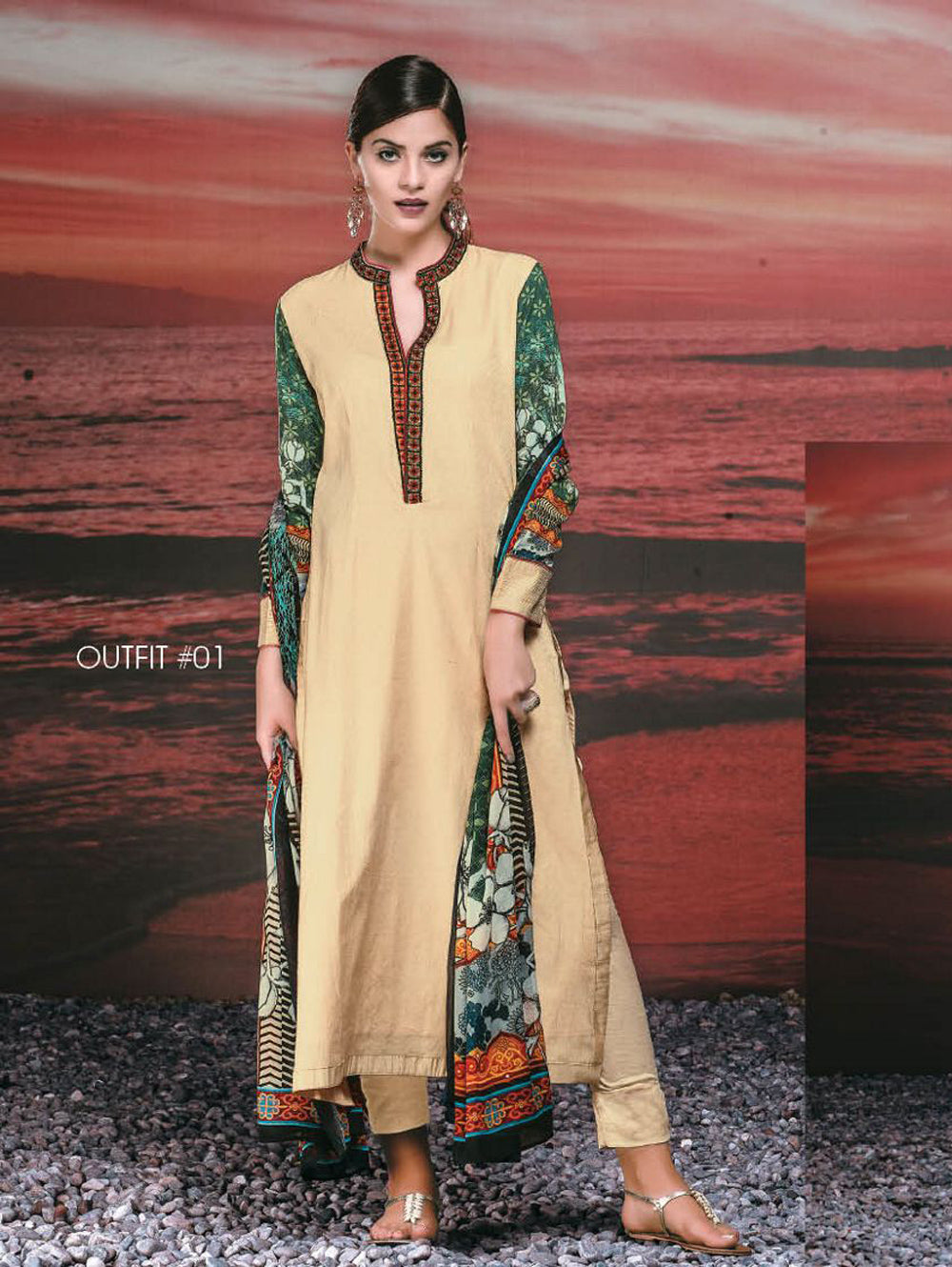 Beige and Green Cotton Satin Jacquard Party Wear Straight Suit