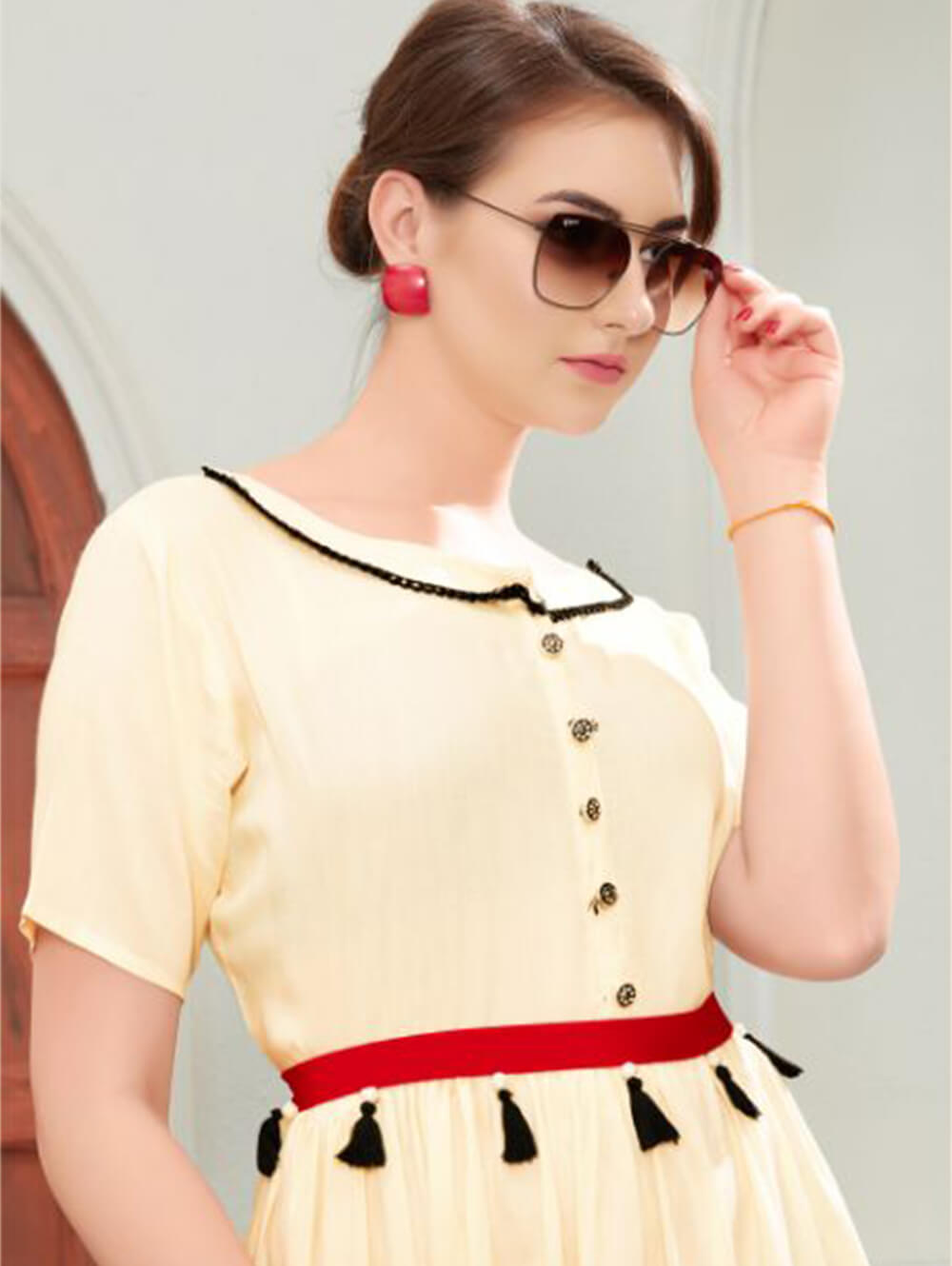 Cream Designer Casual Wear Kurti