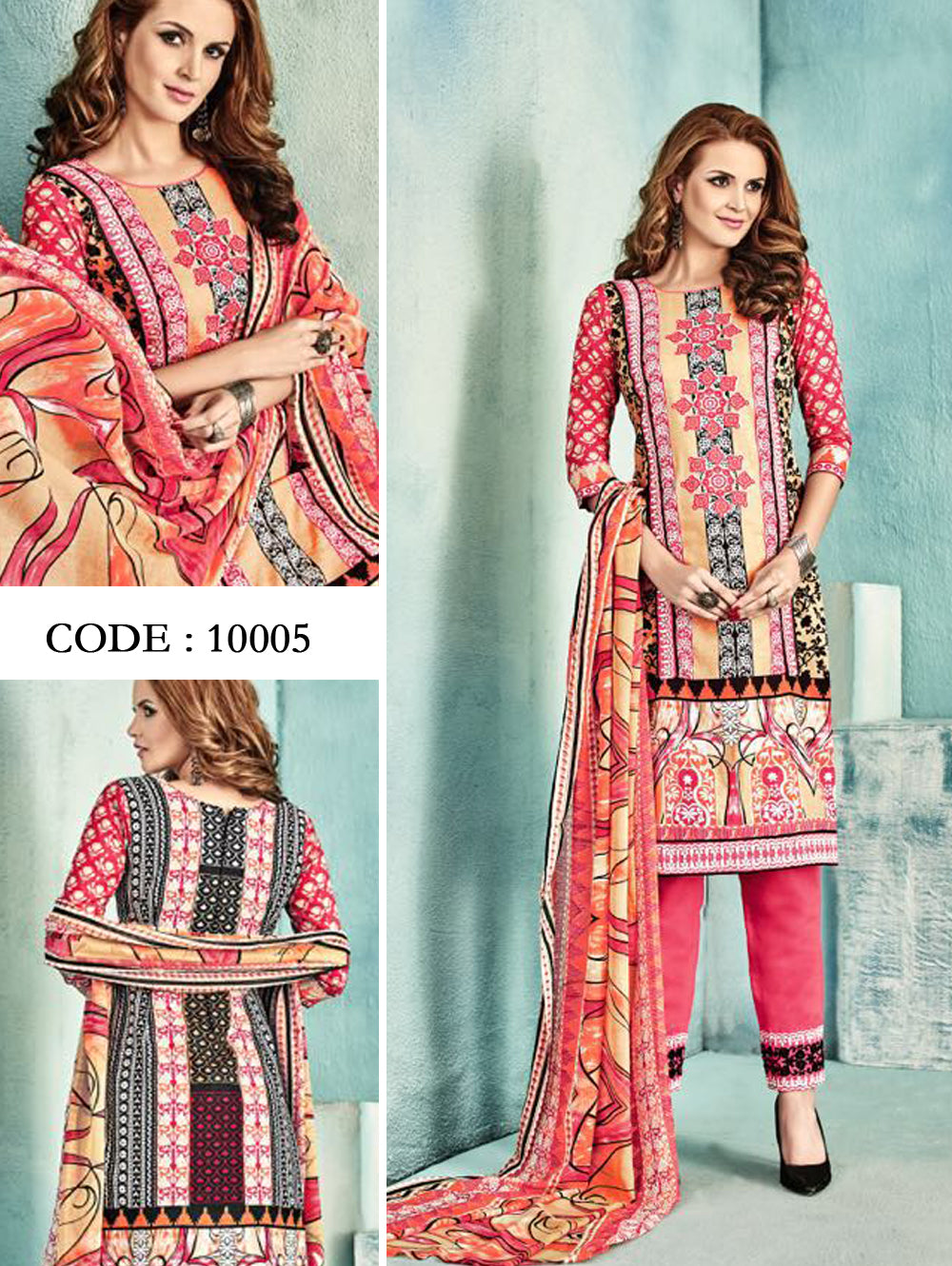 Light Red and Multicolour Latest Fancy Salwar Suit